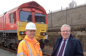 Port director Matthew Hunt, left, with transport secretary Patrick McLoughlin.