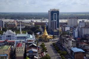 aerial view of Sule pagoda in Yangon, Myanmar; Shutterstock ID 125463137; PO: