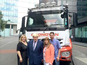 Members of the O'Donovan team at the Safer Lorry Scheme announcement with Mayor of London, Boris Johnson.