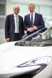 Business secretary Sajid Javid, left, with Mike Flewitt, CEO of McLaren Automotive.