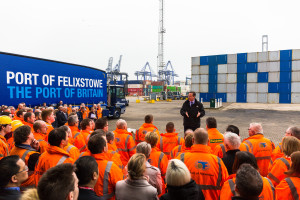 Prime Minister visit to the Port of Felixstowe, Suffolk, United Kingdom on 15-March-2016. Picture: Stephen Waller  www.stephenwaller.com