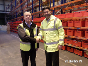 Mark Toon, of TVS, left, and Harvey France of MG at the Longbridge parts centre.