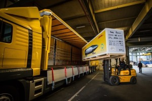 Hyperloop being transported by DHL to california