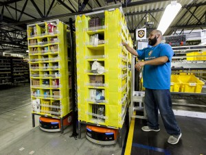 Robots in use at Amazon.