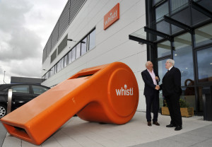 Nick Wells, CEO of Whistl, greeting local councillor Cliff Morris.