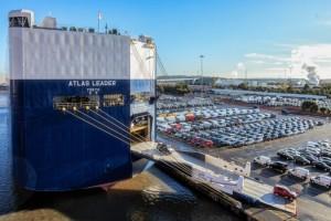 Port of Bristol showing vans for export