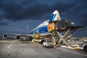 Heathrow Airport, cargo terminal, CargoLogicAir Boeing 747-83Q(F) on stand, 03 November 2016.